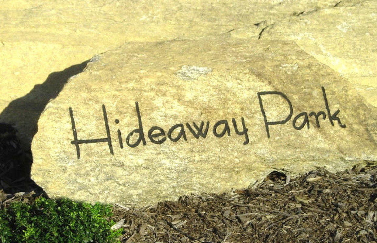 Hideaway Park Rock Sign